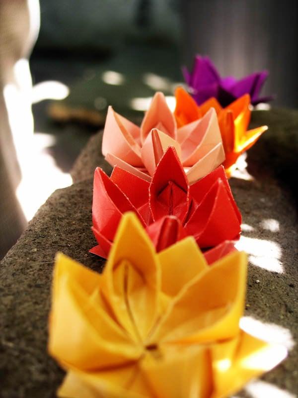 Origami lotus flower tutorial paper kawaii - Origami fleur de lotus ...