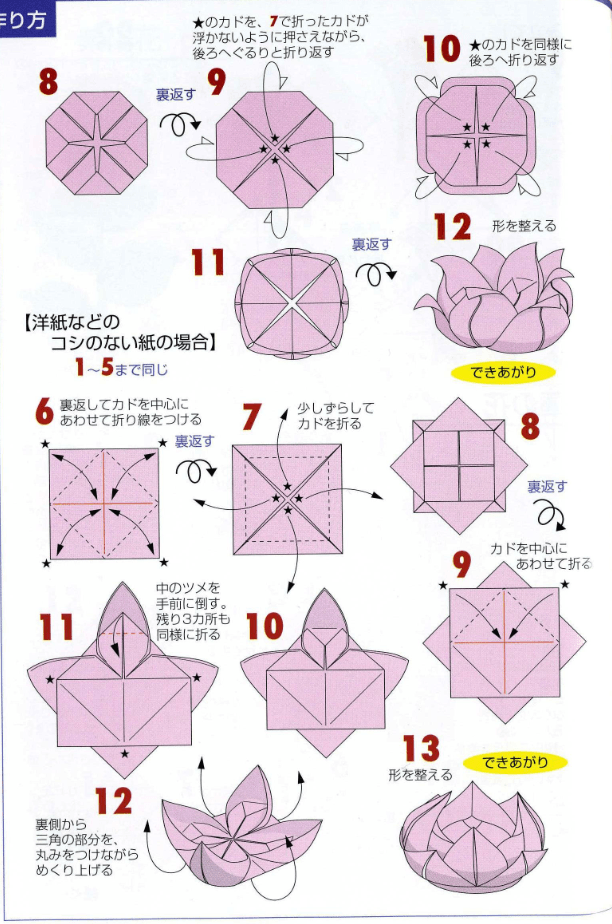 Origami lotus flower tutorial paper kawaii for How to make a lotus with paper