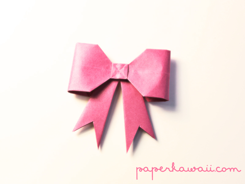 Origami bow tutorial new version paper kawaii - Origami paper tutorial ...