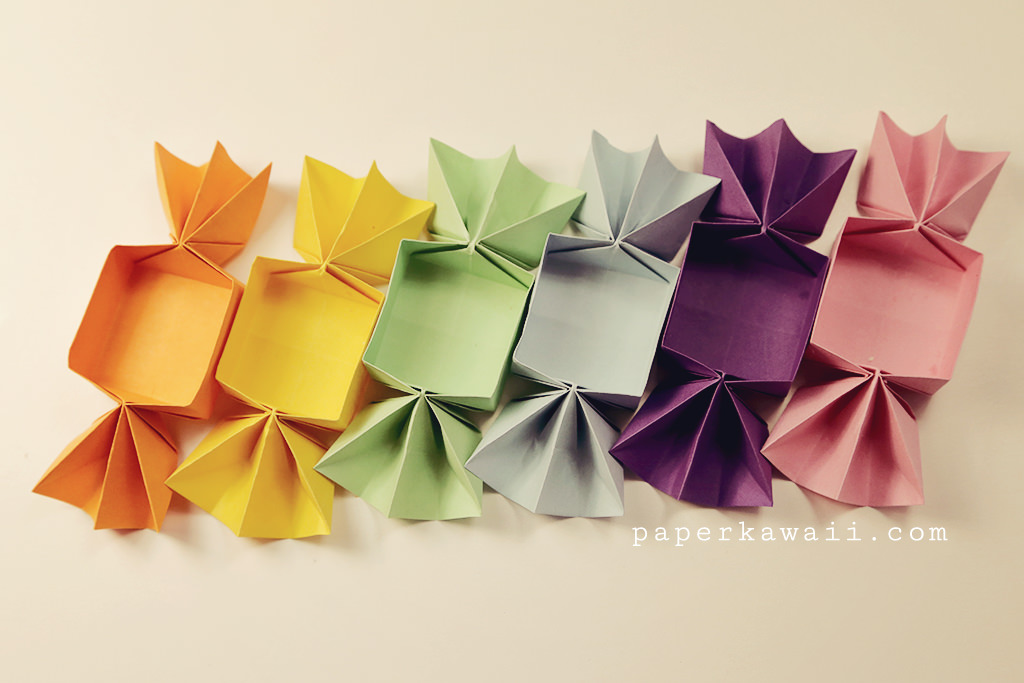 Sweet origami candy box video tutorial paper kawaii - Origami paper tutorial ...