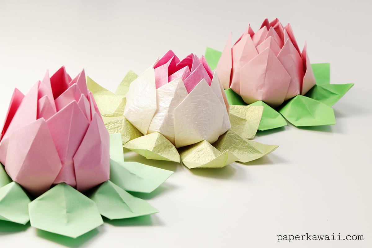 modular origami lotus flower video tutorial paper kawaii
