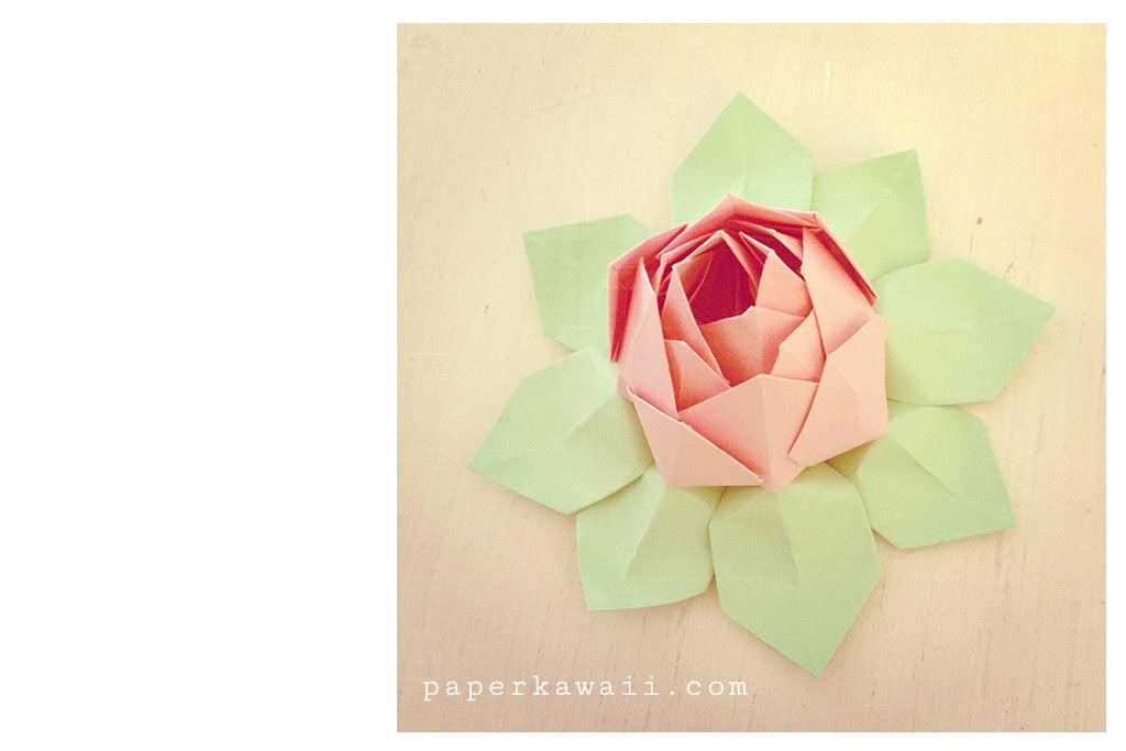 modular origami lotus flower video tutorial paper kawaii