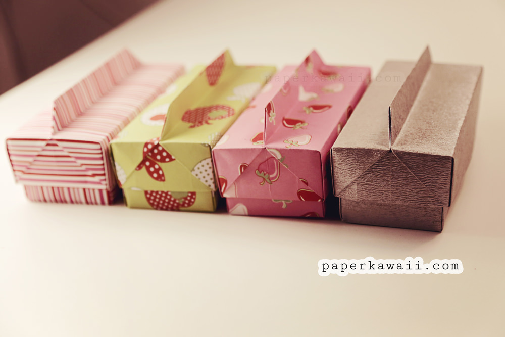Celebrate It Occasions Favor Boxes With Lids Instructions : Origami long box lid with handle paper kawaii