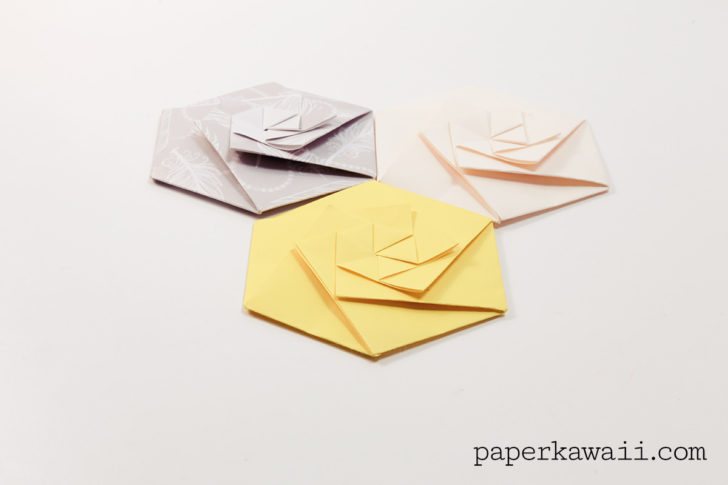 origami hexagonal envelope pouch video paper kawaii