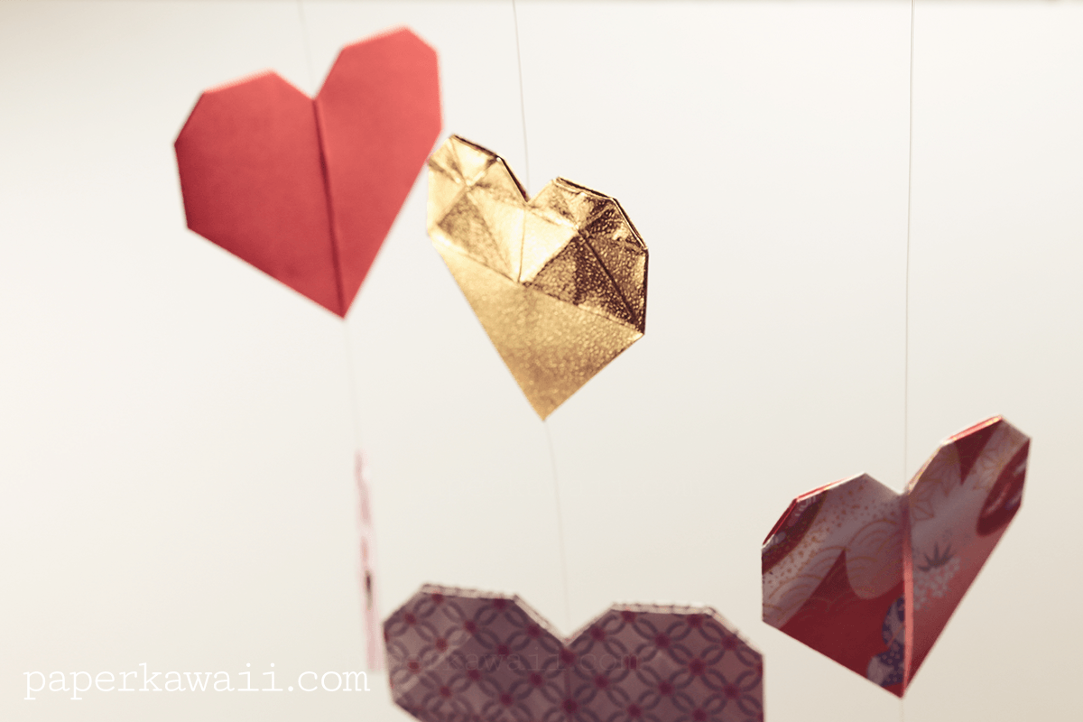 Origami Double Sided Heart Video Tutorial - Paper Kawaii - photo#39