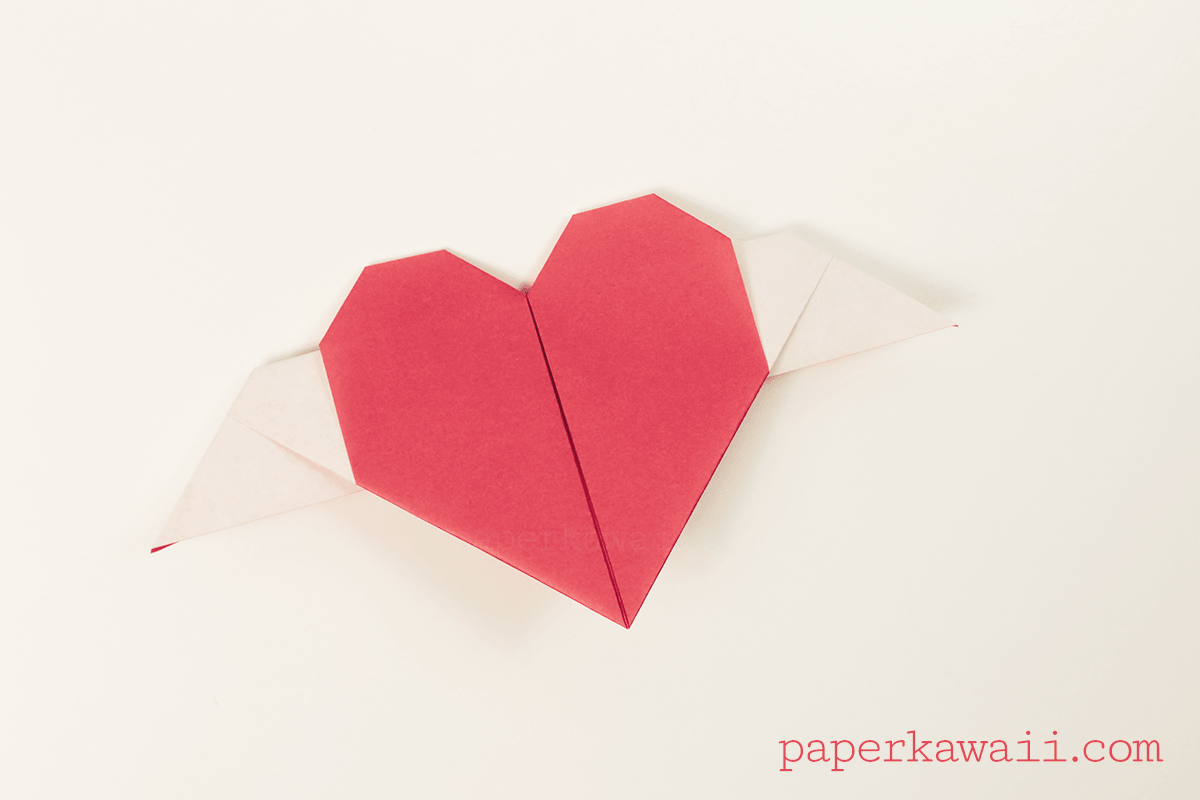 origami heart with wings video tutorial paper kawaii