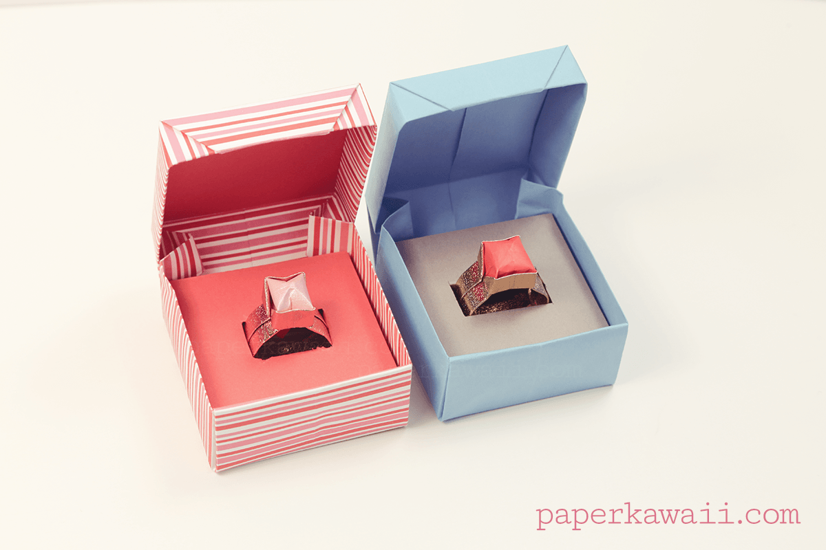 Origami box with lid ring gift paper kawaii origami box with lid ring gift learn how to make jeuxipadfo Choice Image