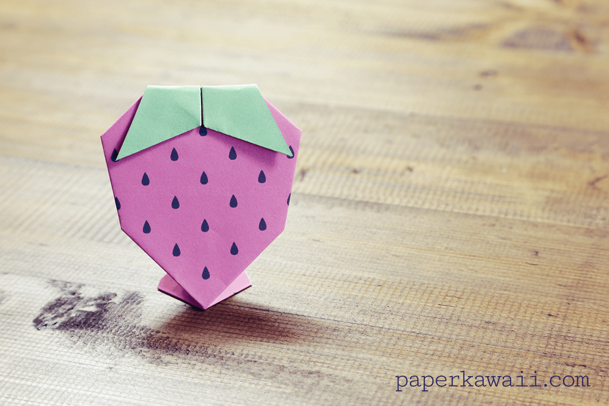 Origami strawberry tutorial free printable paper kawaii - Origami paper tutorial ...