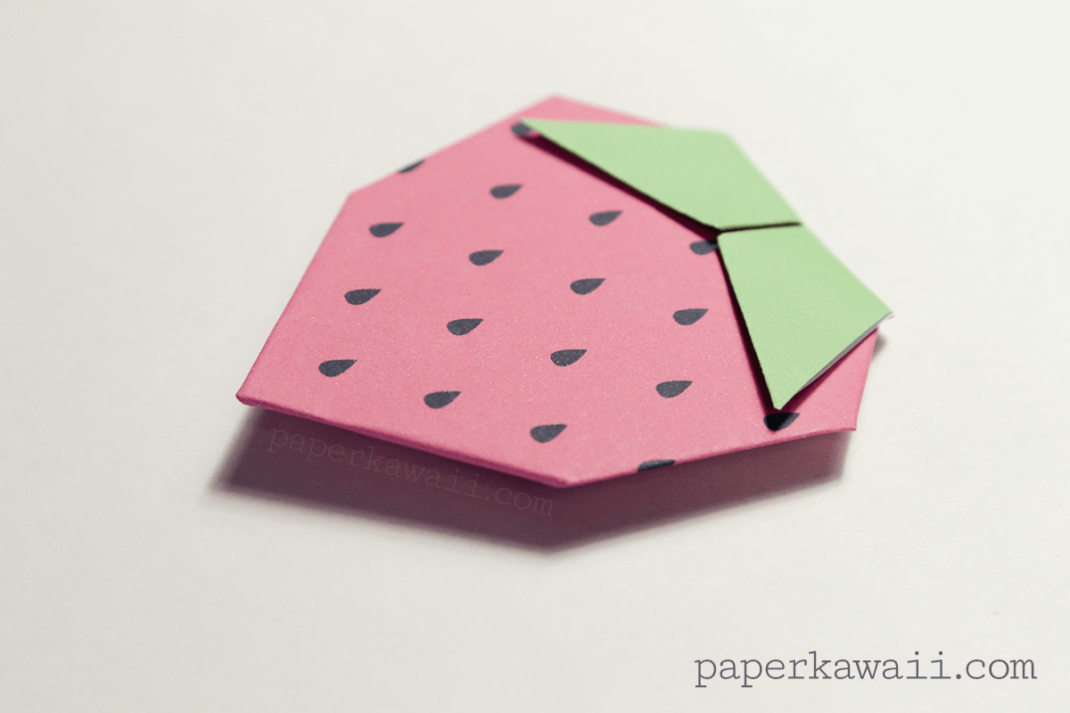 origami strawberry tutorial amp free printable paper kawaii
