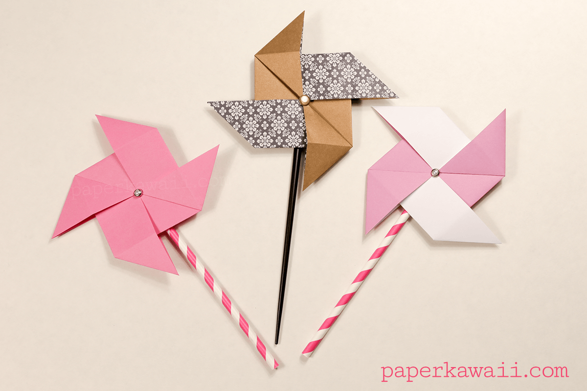 Traditional Origami Pinwheel Video Tutorial Paper Kawaii