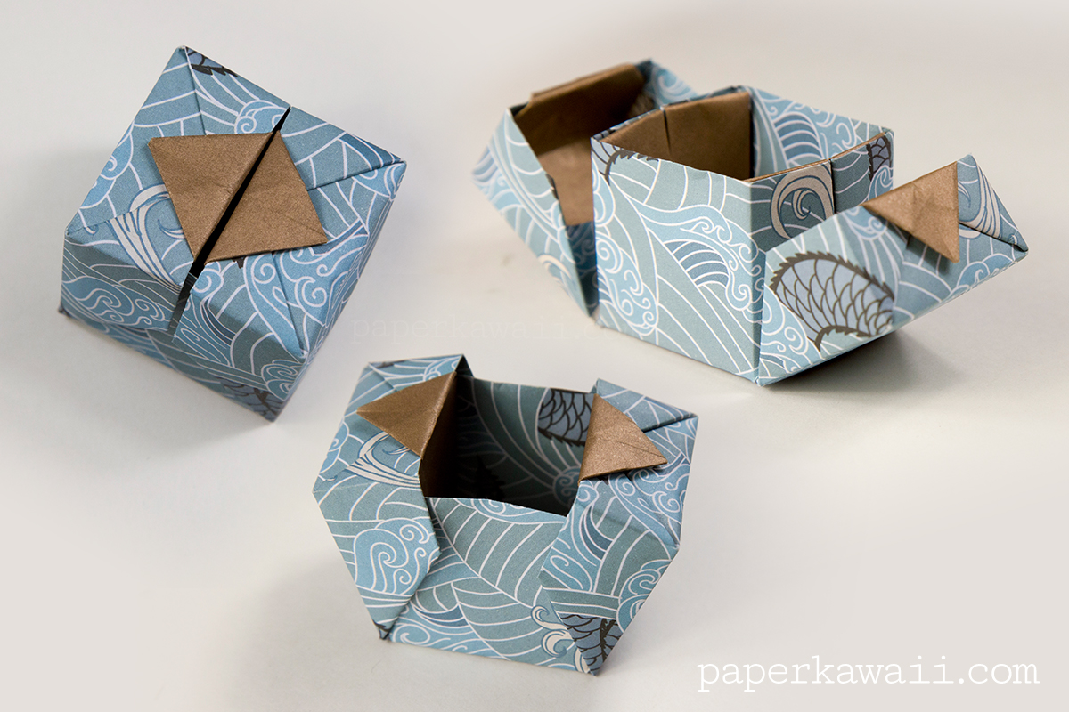 How To Make A Japanese Book Cover : Origami hinged box video tutorial paper kawaii