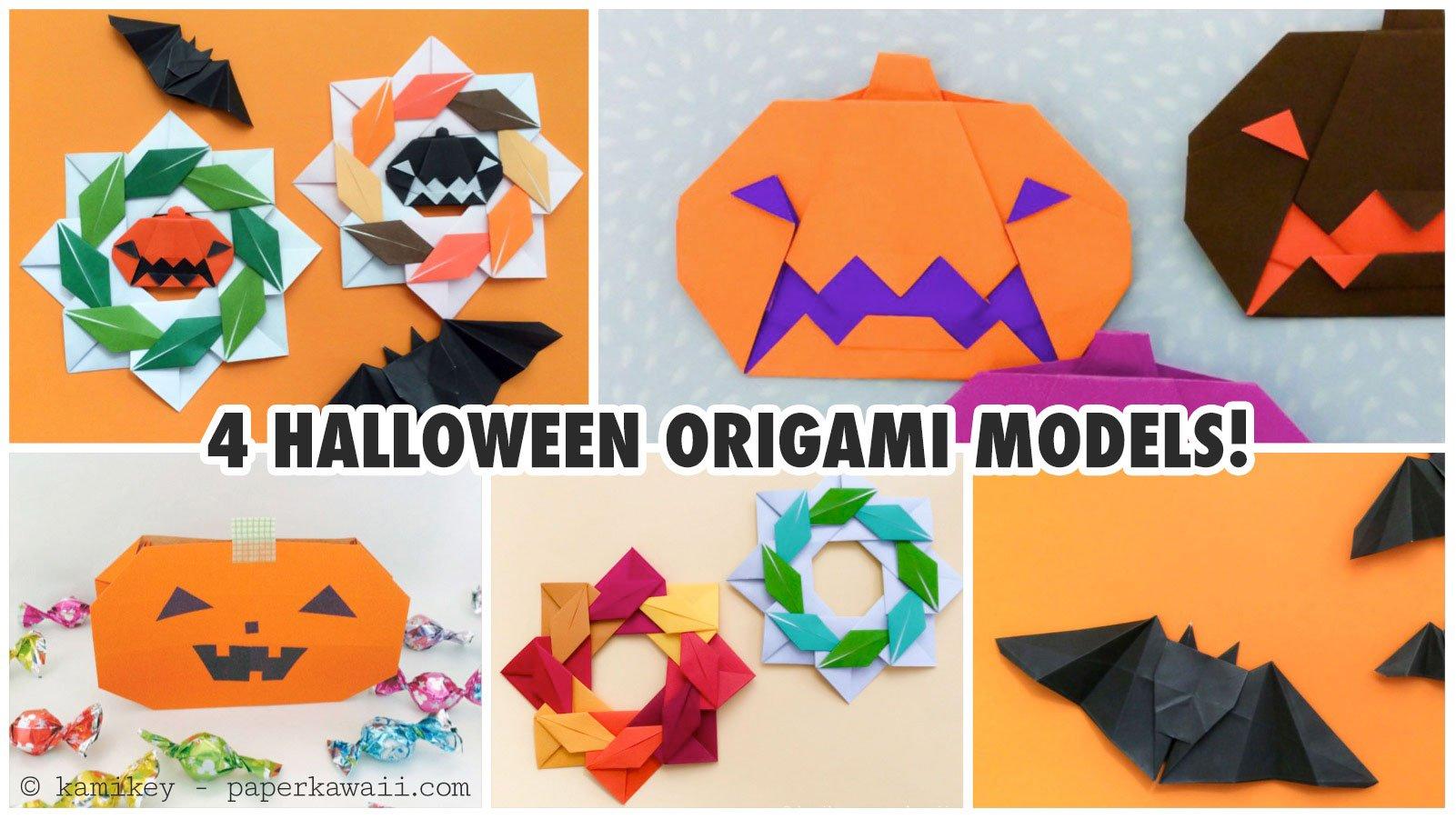 4 cute halloween origami models paper kawaii