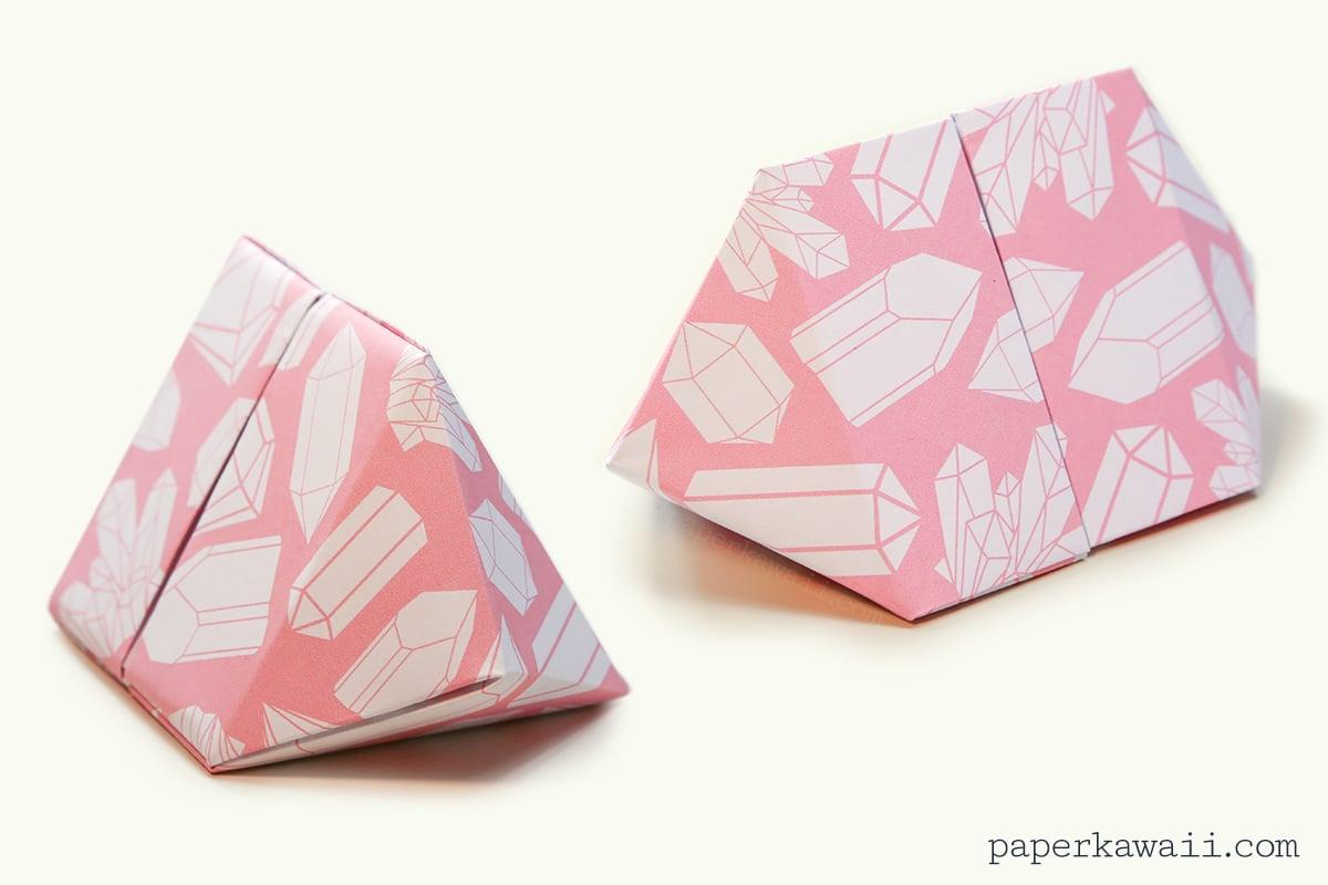 origami bipyramid gem box instructions paper kawaii