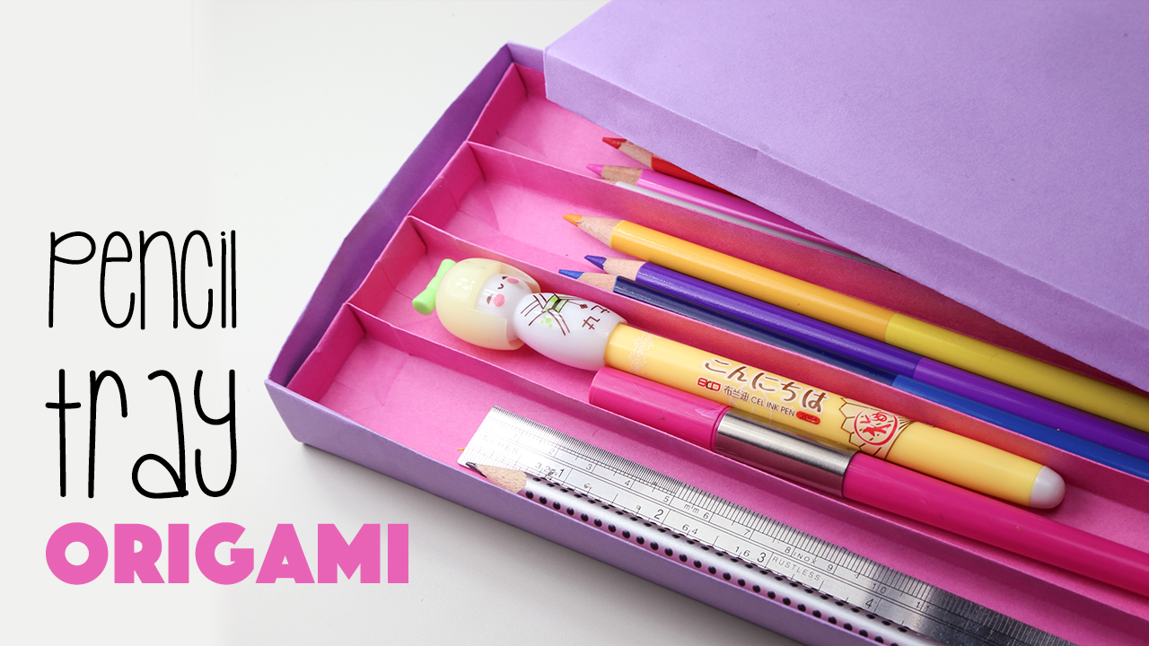 origami pencil tray with 4 sections tutorial paper kawaii. Black Bedroom Furniture Sets. Home Design Ideas