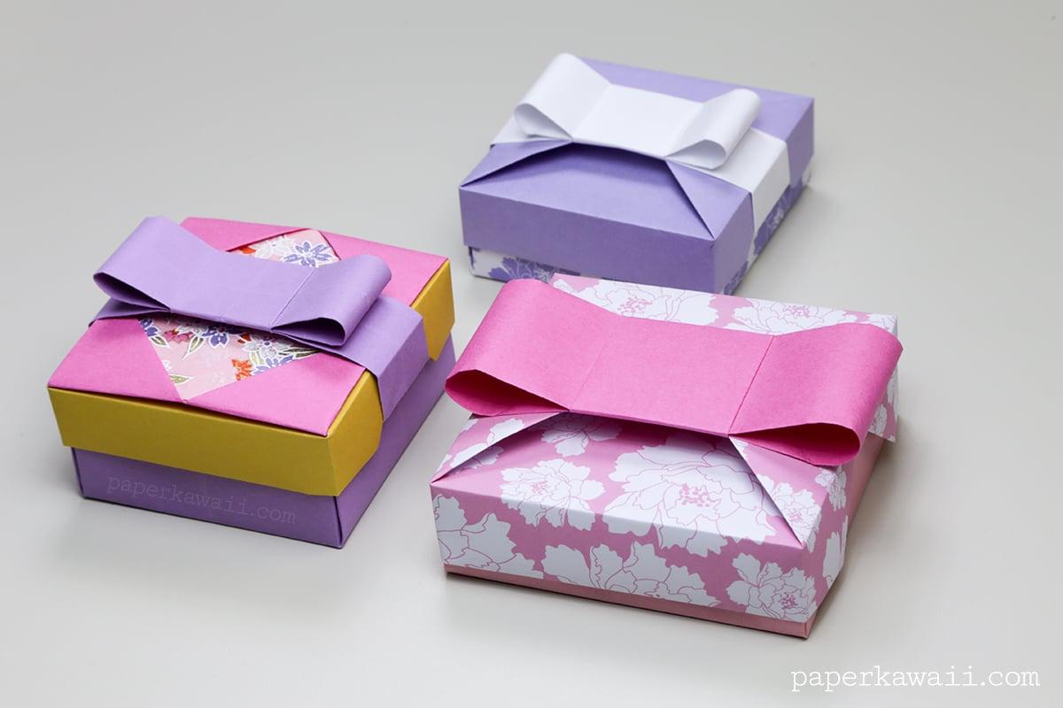 Origami gift box mix match lids paper kawaii