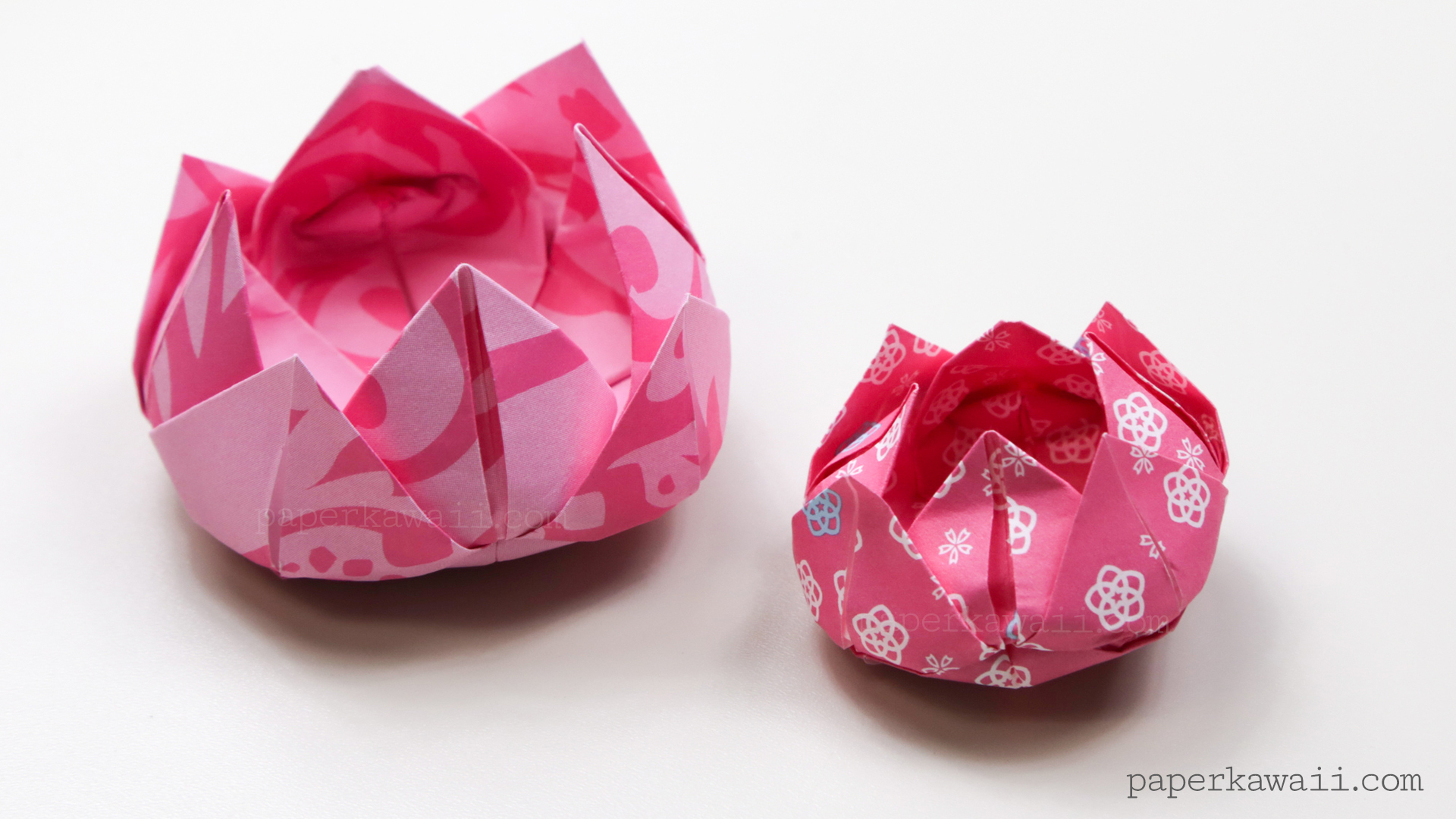 Traditional origami lotus instructions paper kawaii for How to make a lotus with paper