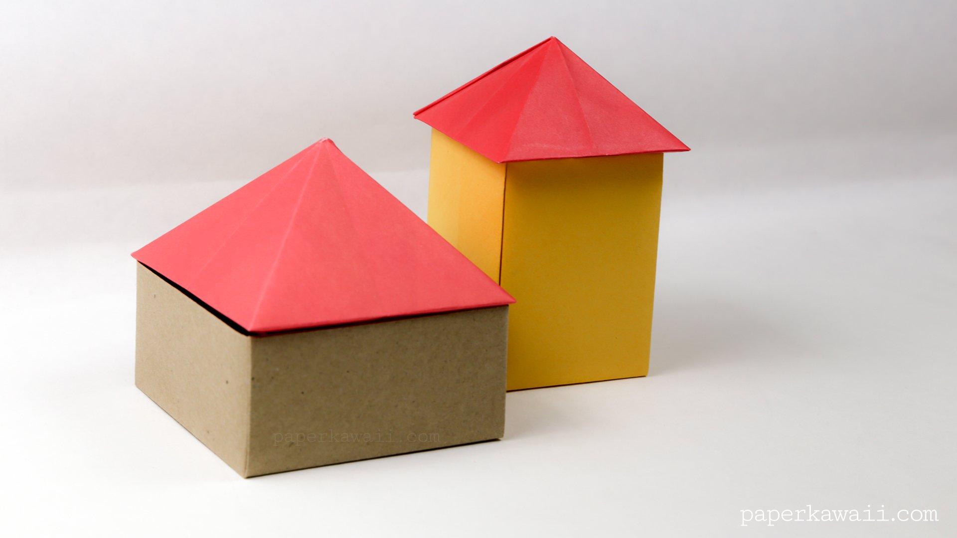 Origami Square Pyramid - House Lid - Paper Kawaii