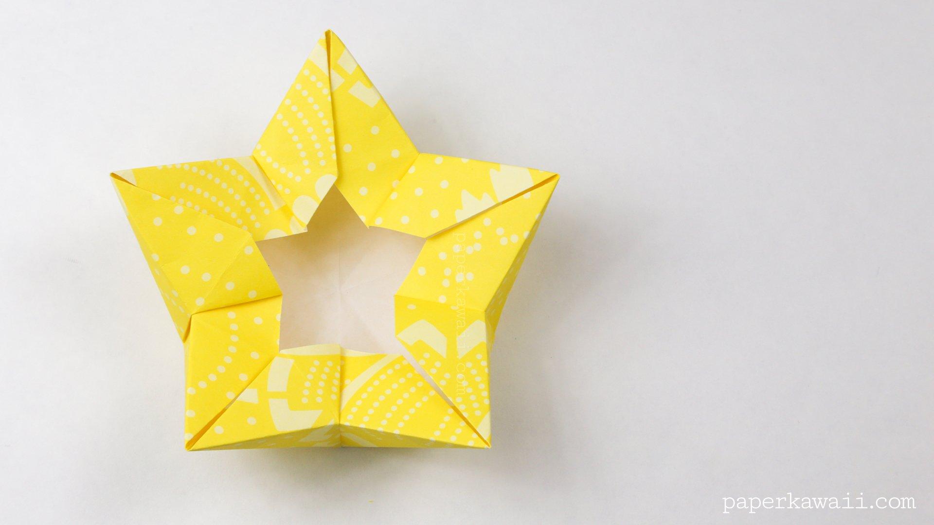 Origami star flower crown bowl tutorial paper kawaii scissors to make the pentagon mightylinksfo Images