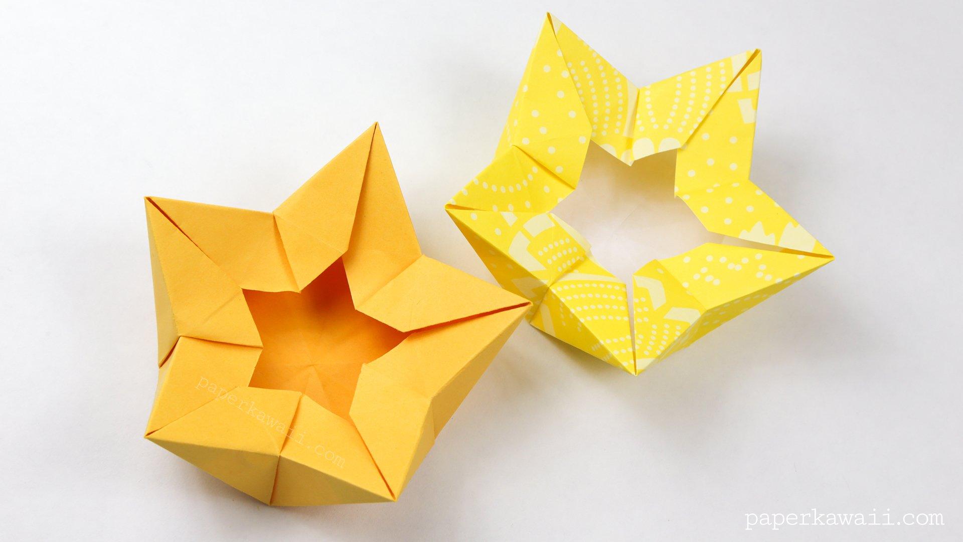Origami star flower crown bowl tutorial paper kawaii scissors to make the pentagon origami star flower mightylinksfo Images