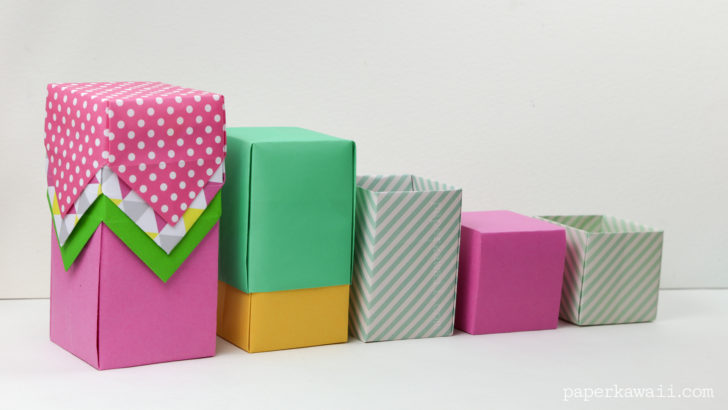 Tall Origami Box - Video Tutorial via @paper_kawaii