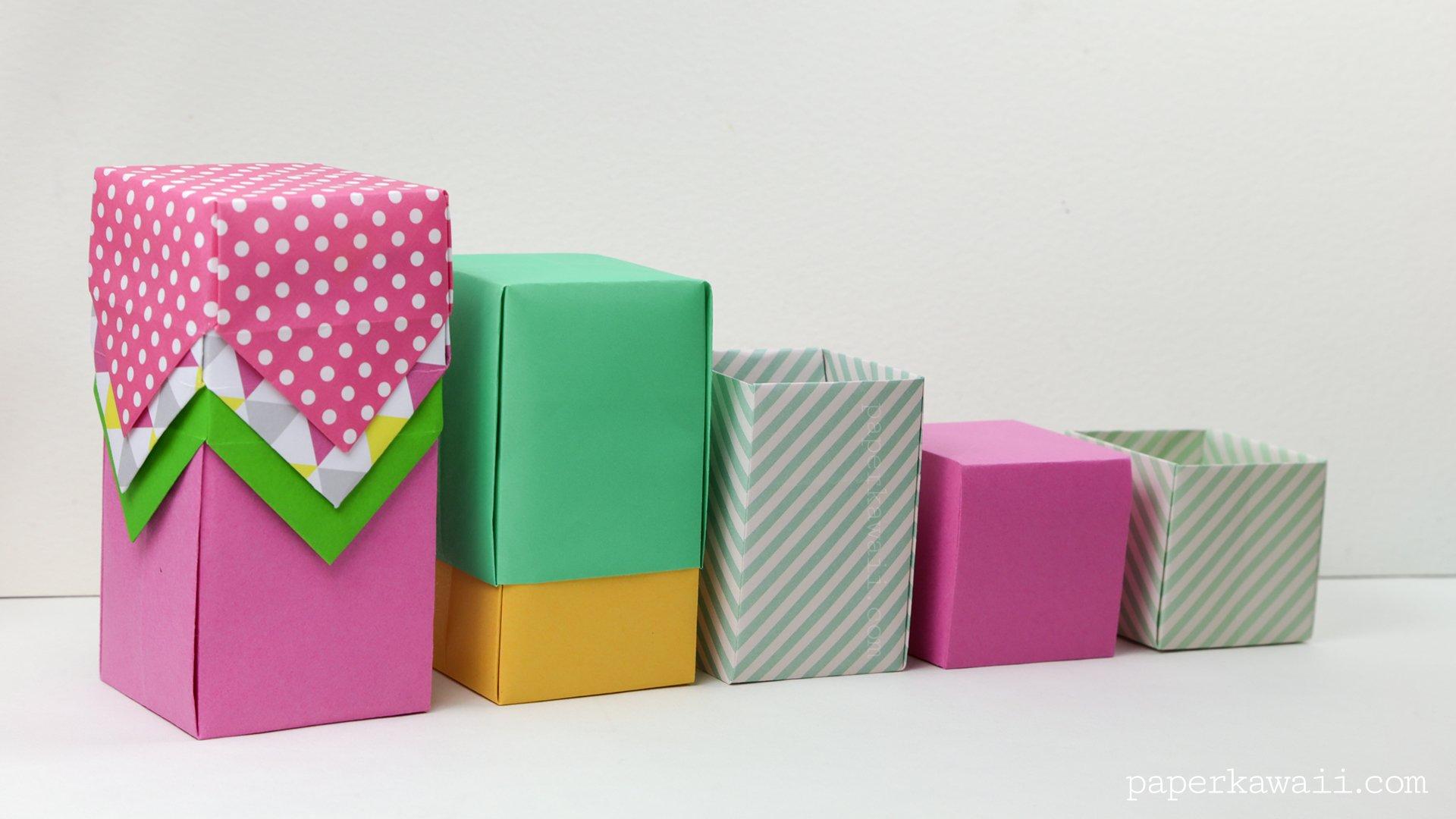 tall origami box video tutorial paper kawaii