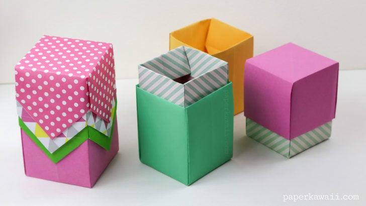 ハート 折り紙:折り紙 四角い箱-handful.jp