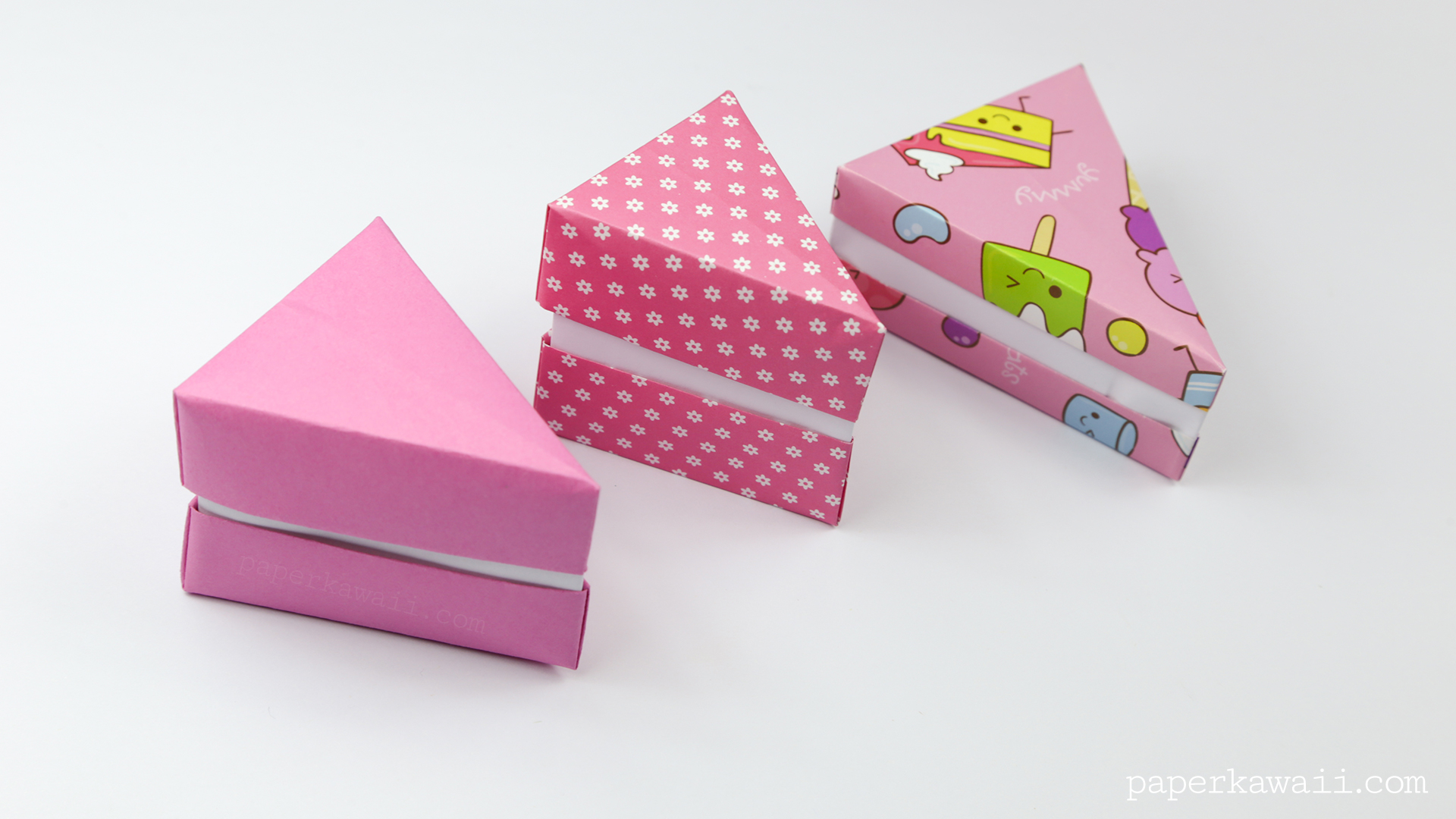 Origami cake slice box instructions paper kawaii the kawaii ice cream and cakes paper is just wrapping paper i found and cut to square jeuxipadfo Choice Image