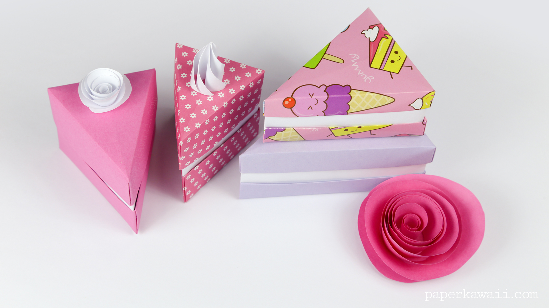 Origami cake slice box instructions paper kawaii a photo tutorial is available for the taller cake box on the origami photo tutorials page jeuxipadfo Choice Image