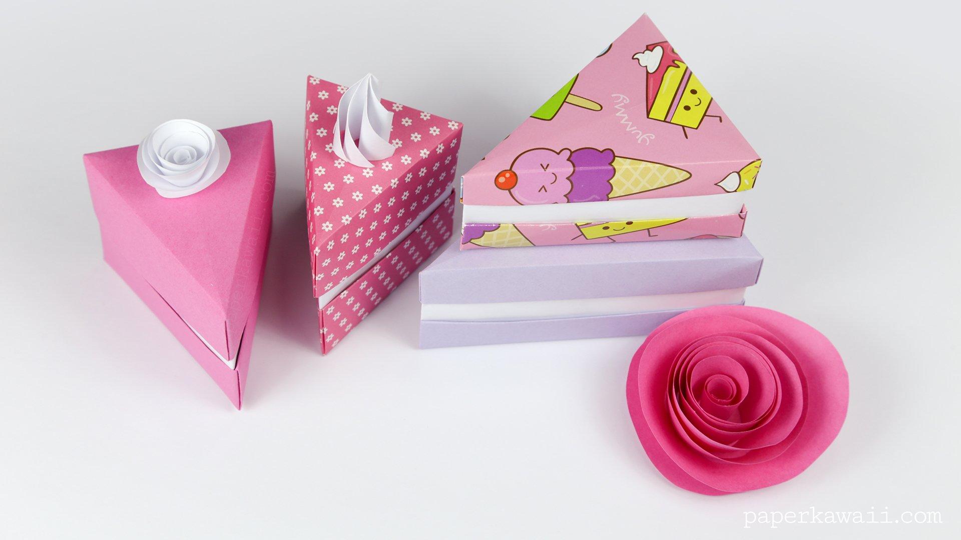 origami cake slice box instructions paper kawaii