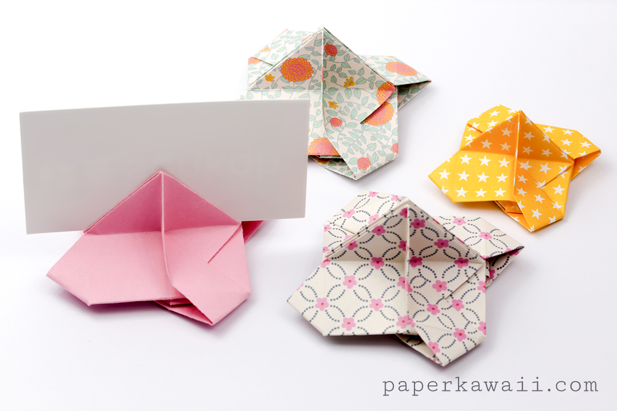 origami card holder instructions paper kawaii