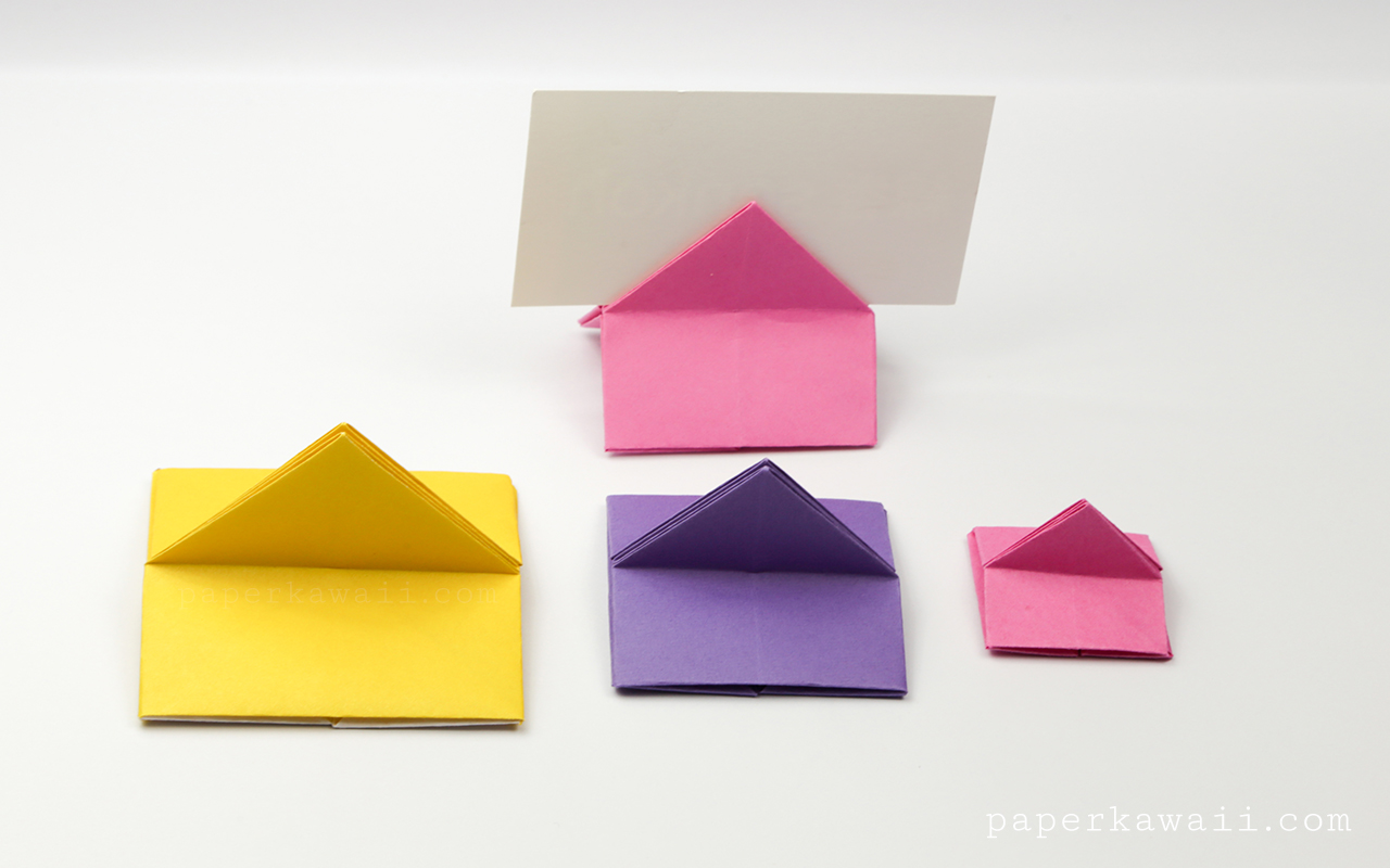 printable pokeman valentines day cards - Origami House Shaped Card Stand Instructions Paper Kawaii