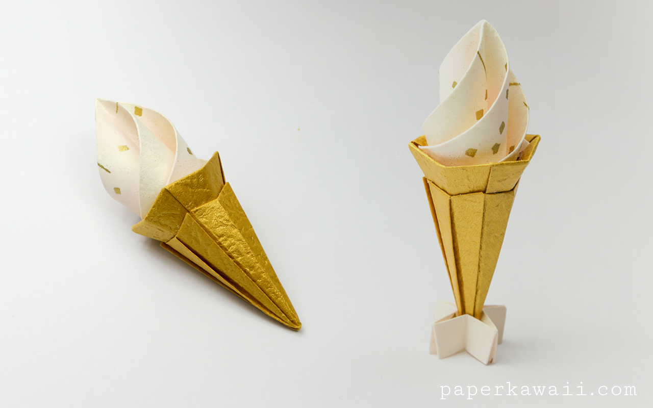 origami ice cream cone instructions modular paper kawaii