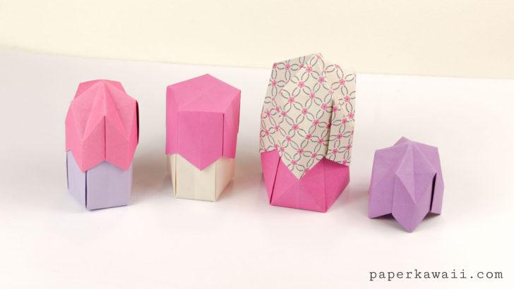 Pentagonal Origami Crown Box / Lid Instructions via @paper_kawaii