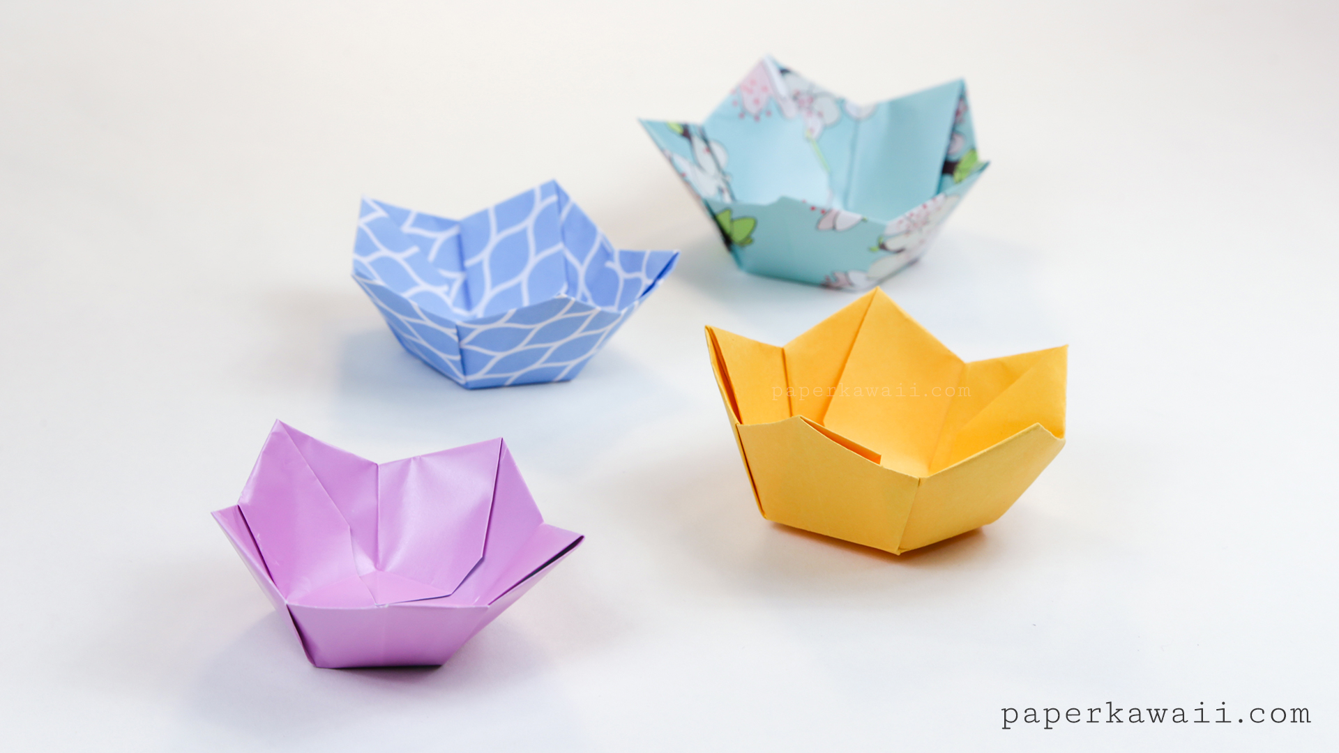 Origami Flower Bowl Tutorial - Paper Kawaii - photo#15