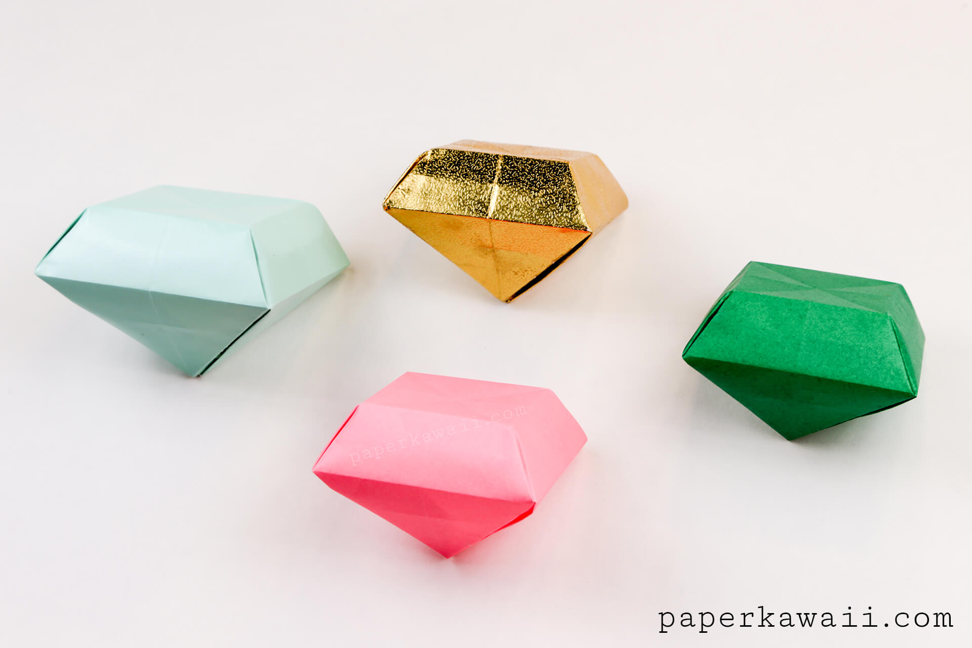 Origami paper crystal tutorial make 3d gems paper kawaii - Origami paper tutorial ...