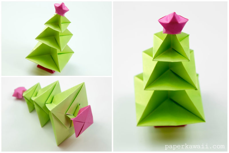 origami christmas tree tutorial paper kawaii