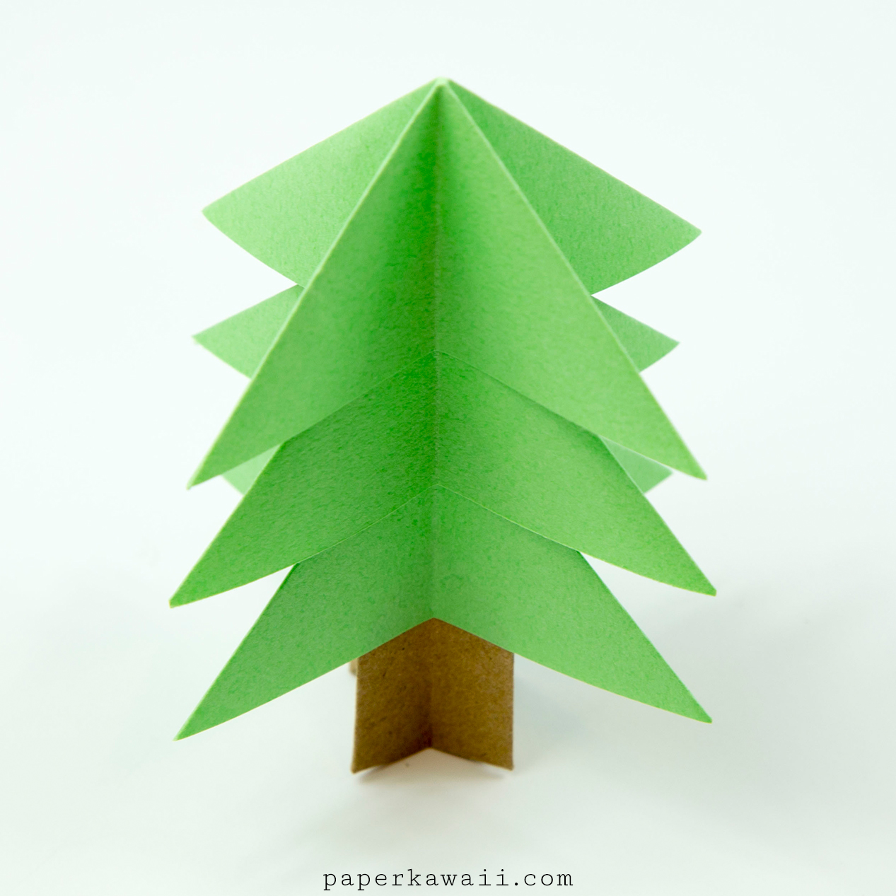 Origami christmas tree diy paper decor 3d made easy tutorial for ... | 1267x1267