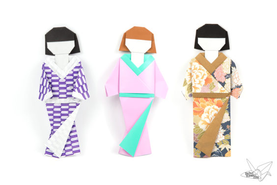 Origami Japanese Doll in Kimono Dress Tutorial