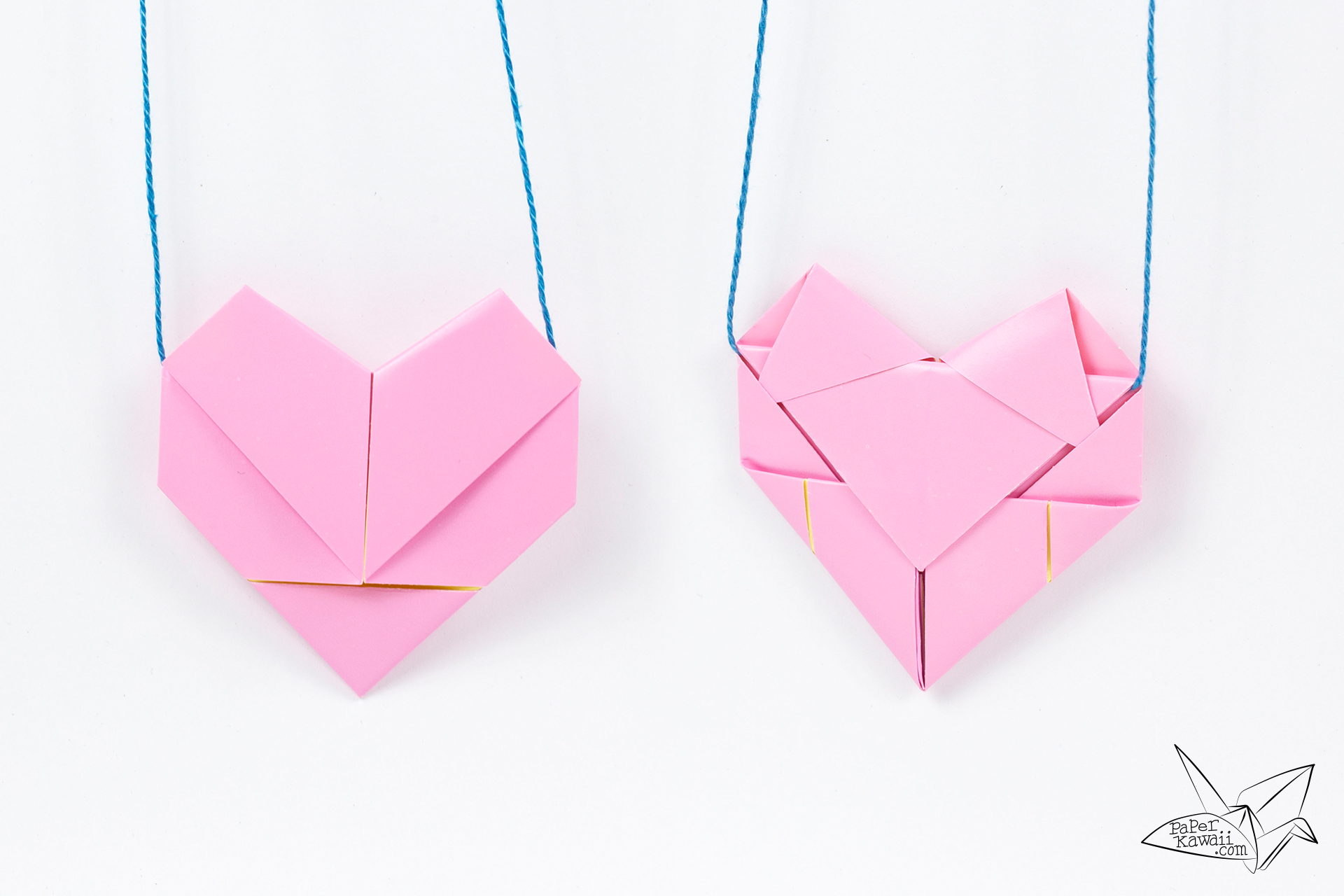 origami heart necklace tutorial heart letterfold paper
