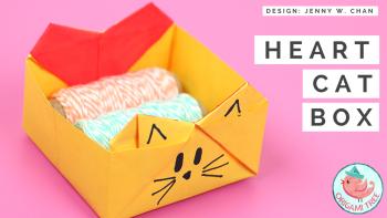 heart cat box by origami tree