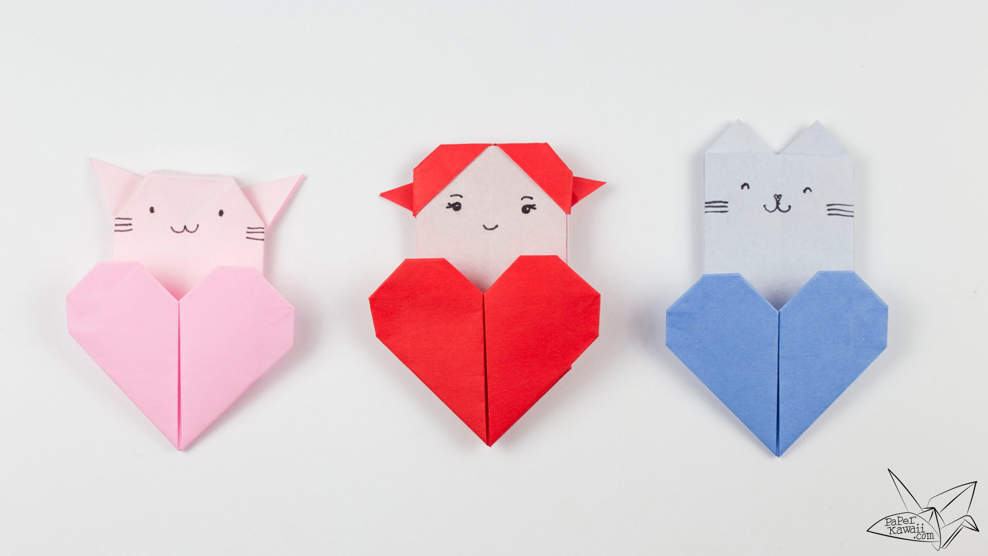Origami cat heart tutorial origami heart pocket paper kawaii - Origami origami origami ...