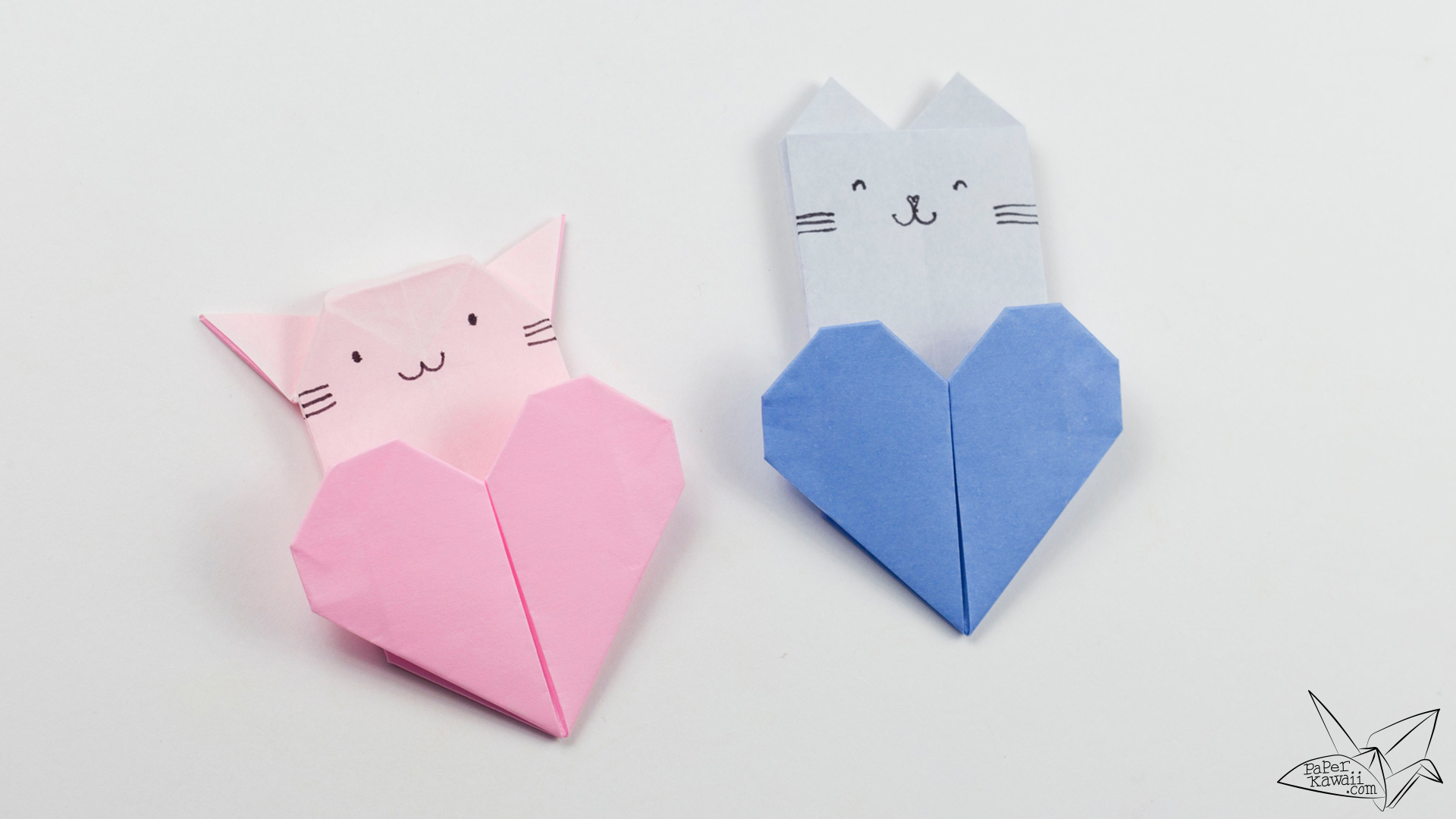 Origami cat heart tutorial origami heart pocket paper kawaii - Origami paper tutorial ...