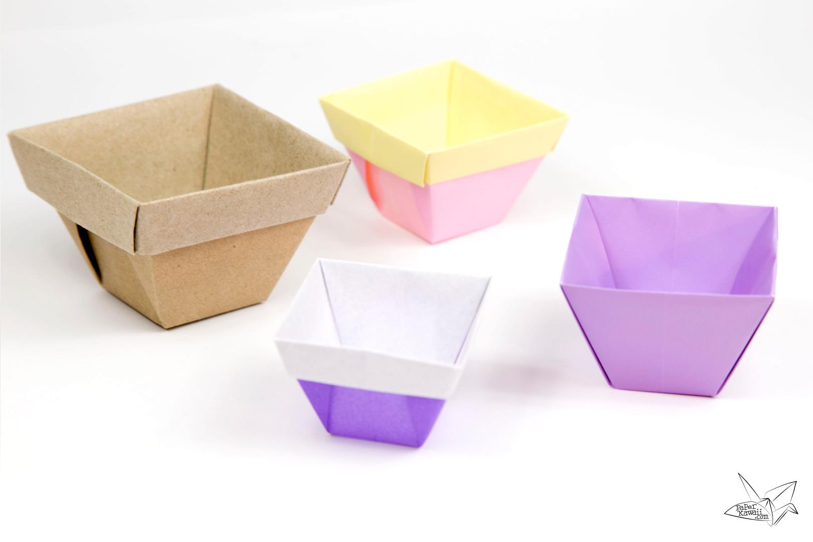 Tapered Origami Box / Origami Plant Pot Tutorial via @paper_kawaii