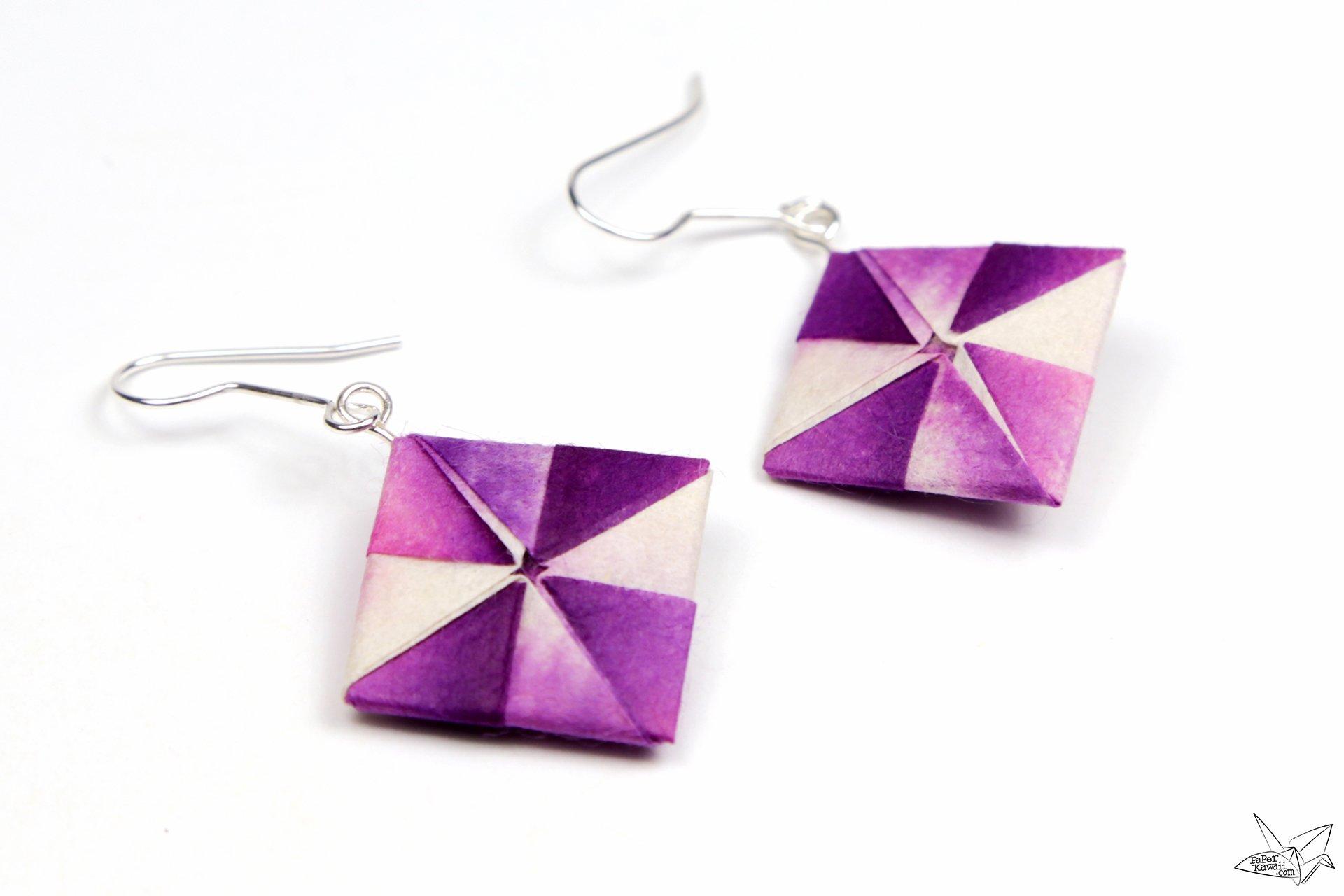 Origami earrings tutorial pinwheel squares paper kawaii - Origami paper tutorial ...