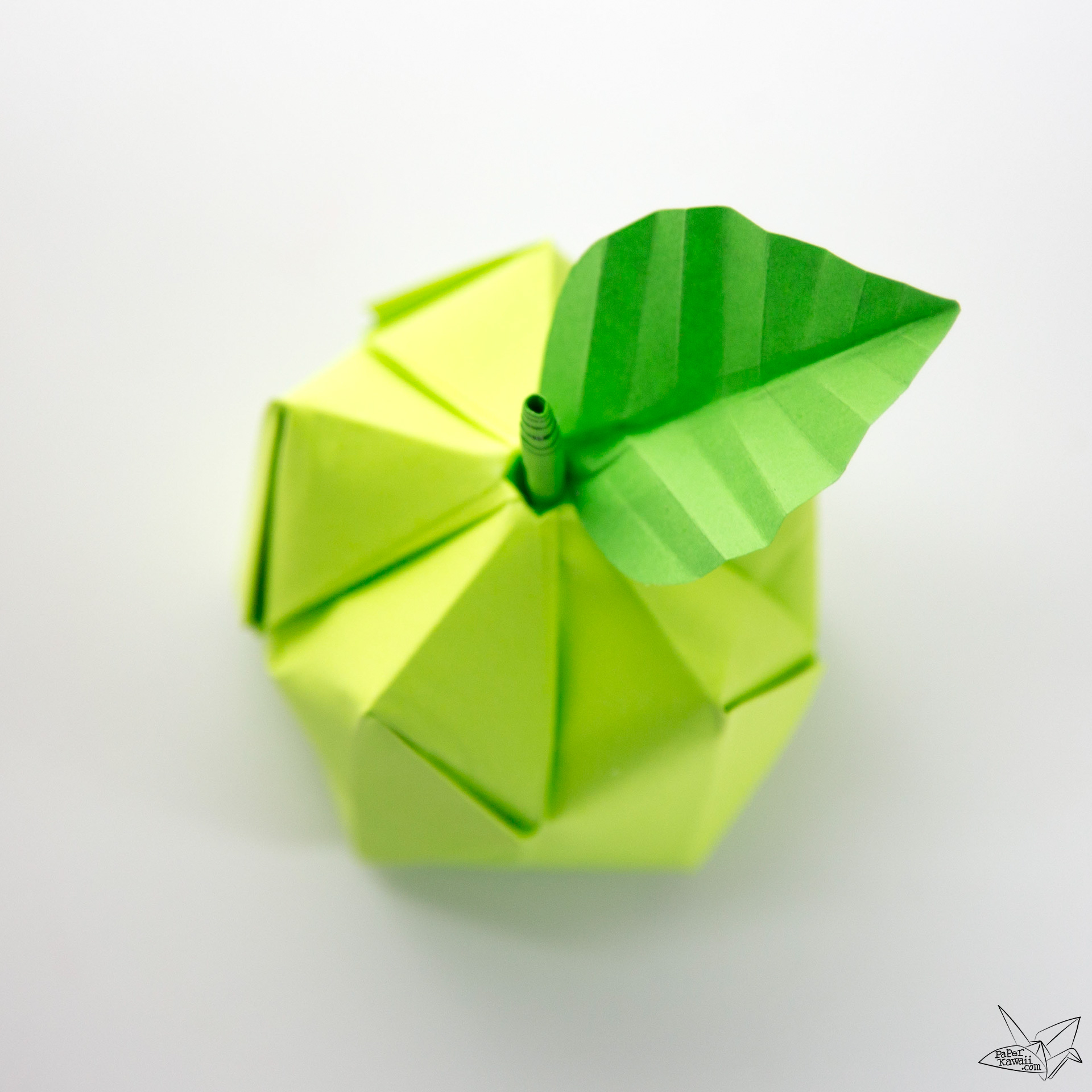 3d origami apple amp leaf tutorial paper kawaii