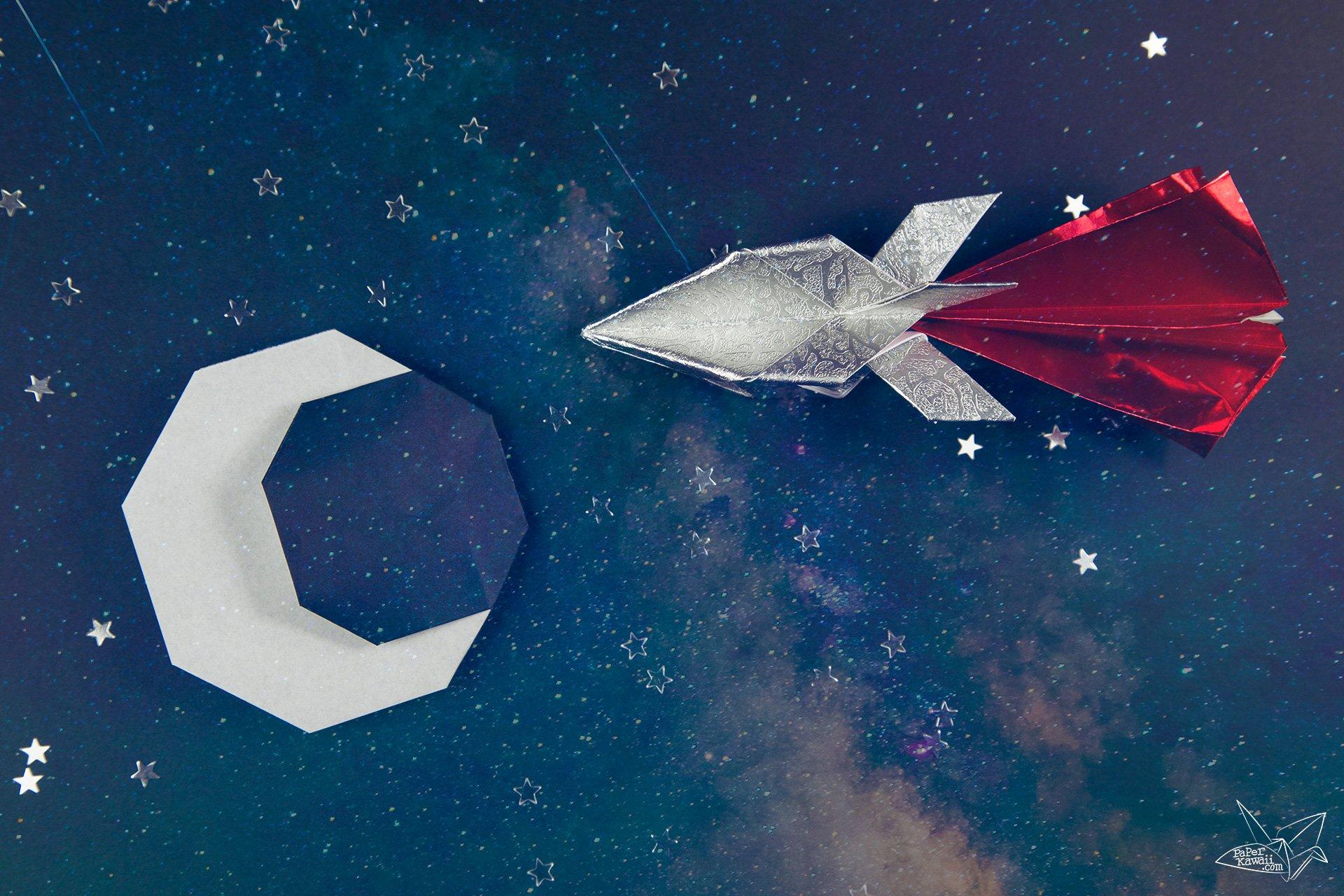 Origami Spaceship Tutorial - Origami Rocket via @paper_kawaii