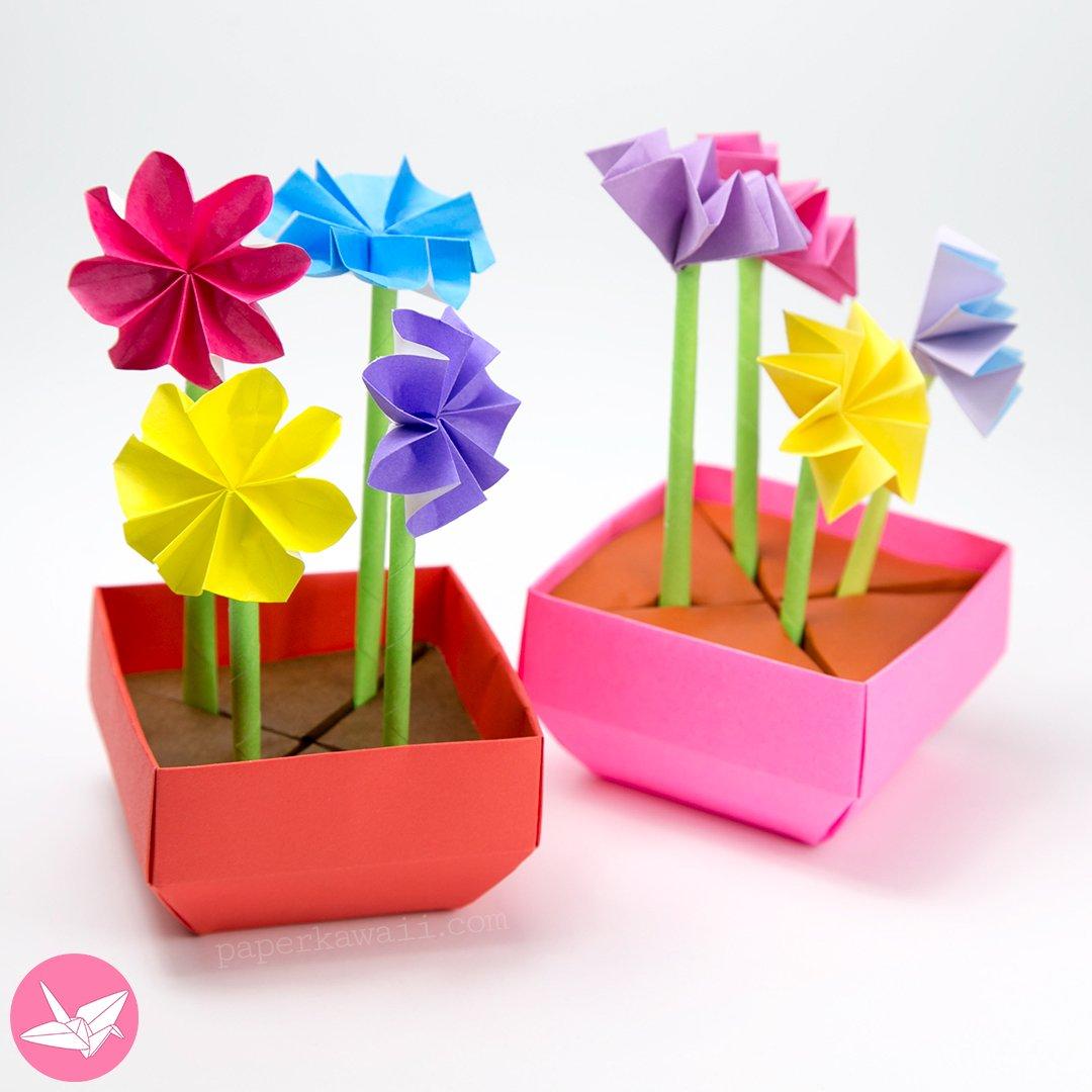 origami angled base box pot tutorial paper kawaii. Black Bedroom Furniture Sets. Home Design Ideas