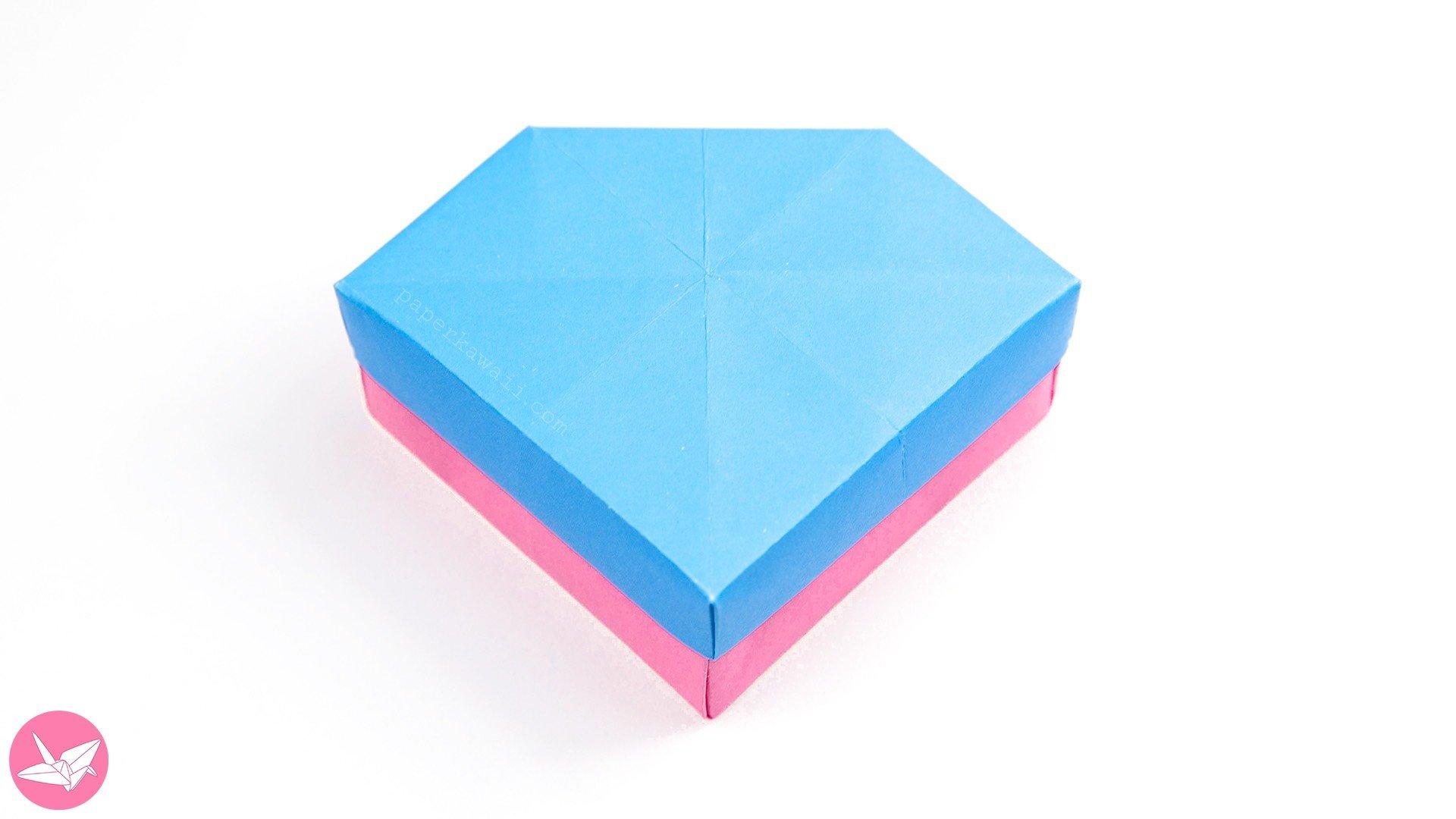 origami gem box amp lid tutorial revised paper kawaii