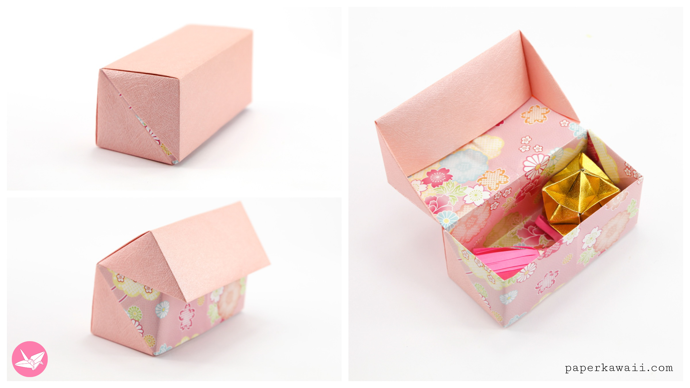 Origami - diagrams for two piece box with hinged lid. | Origami ... | 1350x2400