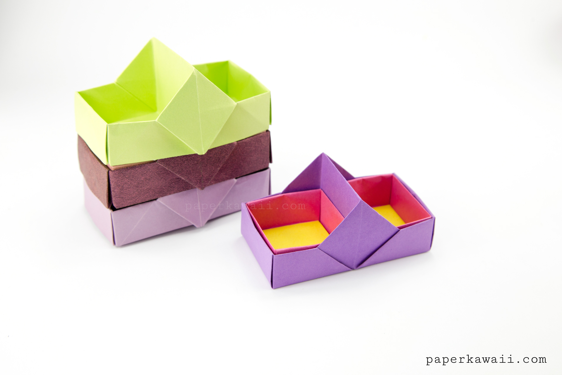 Two Sectioned Origami Tray / Box Tutorial via @paper_kawaii